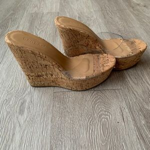 Bamboo platform Acetate Wedge Sandals